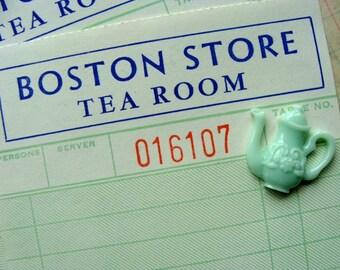 Dozen Antique Ladies Boston Store Tea Room Aqua Unused Ephemera lot