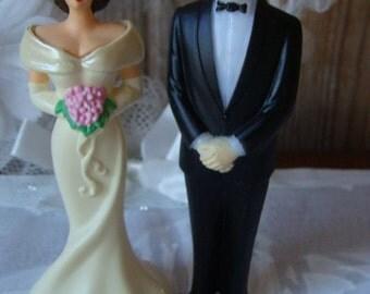 Gorgeous Vintage Wedding Couple Cake Topper