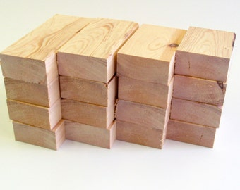 Wooden blocks, unfinished, (16) , ready for your decoration. Paint, carve, decorate. Make signs, letters, numbers, photos or pictures. (RB8)