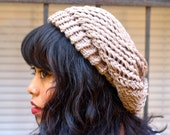 Taupe Sparkle Slouchy Beret Hat - Marilyn