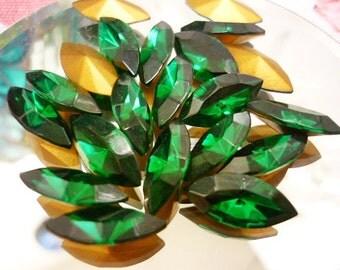 8 Stunning Navette Emerald Green Swarovski Crystals  15mm x 7mm