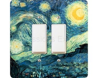 Vincent Van Gogh Starry Night Painting Square Double Decora Rocker Light Switch Plate Cover