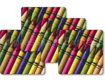 Colored Crayons Square Coasters - Set of 4