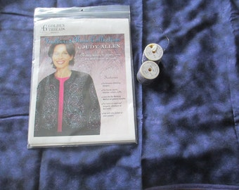 Destash - Judy Allen Feathered Rose Collection Pattern, Thread, Fabric