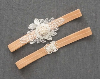Wedding Garter Set | Lace Garter | Boho Bridal Garter | Wedding Toss Garter [Colette Garter Set]