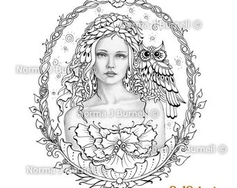 through the glass fairy tangles grayscale digital printable coloring pages fairy owl adult coloring norma - Fantasy Coloring Books For Adults