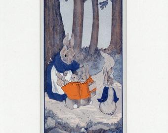 Vintage 1926 Peter Rabbit and Family Original Book Illustration