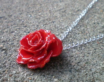 Free Shipping REAL Small Red TEA ROSE Adjustable 18 inch Sterling Silver Chain Necklace