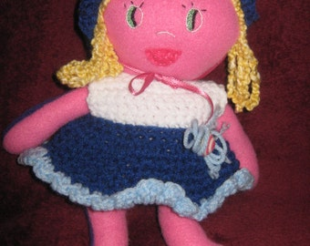 Fleece Doll in Pink and Purple