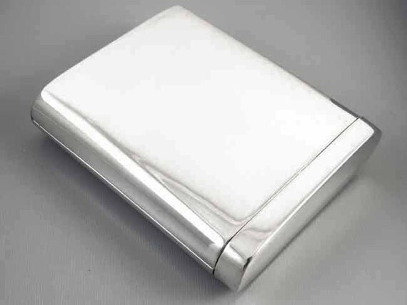Scarce Flip Top Box style vintage Art Deco 1920s signed Napier sterling silver cigarette case / smoking / tobacciana / 2.9 ounce