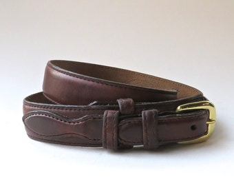 vintage Brighton Narrow Dark Brown Leather Belt