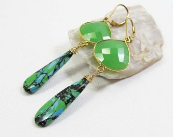 Chrysoprase and Turquoise Gemstone . 14k Gold Filled and Vermeil Dangle Drop Earrings . Marbled Aqua Blue, Lime Green, Black . E14063