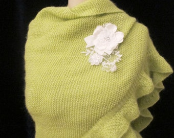 Bridal Green Shawl Wrap Shrug Hand Knitted Ruffle Mohair Evening Wrap