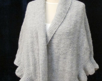 Plus Size Bridal Grey Shawl Wrap Wedding Shrug Hand Knitted Ruffle Mohair Evening Wraps Extra Large Knit shawls Gray Wraps Cover Up Wool