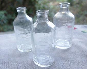 Set of 3 - Antique Japanese medical glass bottles