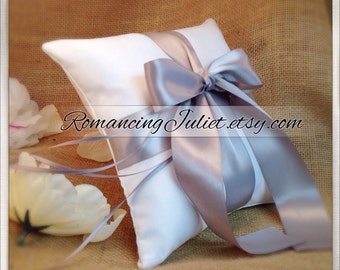 Romantic Satin Ring Bearer Pillow...You Choose the Colors...Buy One Get One Half Off...shown in white/silver gray