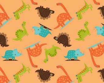 SUMMER SALE  - 3 3/8 yards - Dinosaur - Toss in Orange - Sku C4162 - Riley Blake Designs