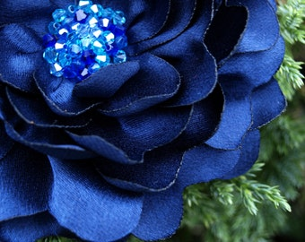 Navy Blue Flower Brooch or Hair Clip