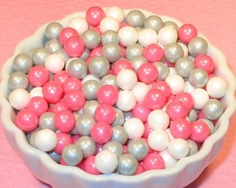 Bridal Pink Candy Bead Asst  7 MM  (3 oz)  Pink, Silver and White Pearl Candy Beads, Cake or Cupcake Candy Beads, Cake or Cupcake Toppings,
