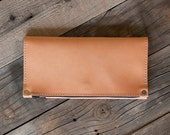 leather and waxed canvas trifold wallet; hand oiled vegetable tanned leather