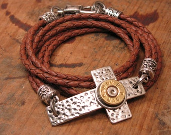 Bullet Jewelry - Triple Wrap Saddle Brown Leather Silver Hammered Cross Bullet Casing Bracelet - A SureShot Exclusive - Sideways Cross