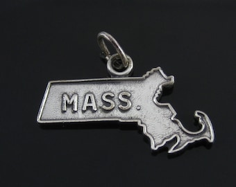 Vintage Sterling Silver Massachusetts State Map Charm MA