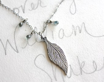 feather necklace . inspirational sapphire necklace jewelry . bohemian sterling silver talisman necklace by peacesofindigo