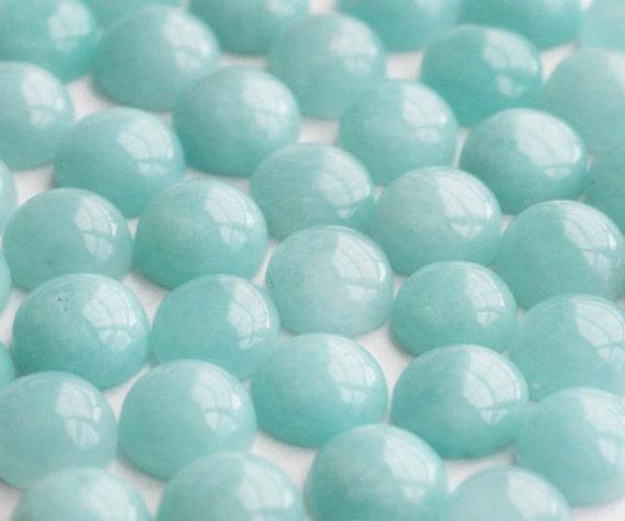 6mm - One Beautiful Round Aqua Blue Amazonite Cabochons