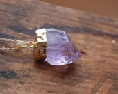 Gold Dipped Amethyst Raw Nugget Stone Necklace with Gold Chain