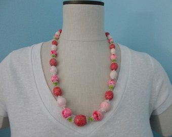 VINTAGE pink and red CORO NECKLACE