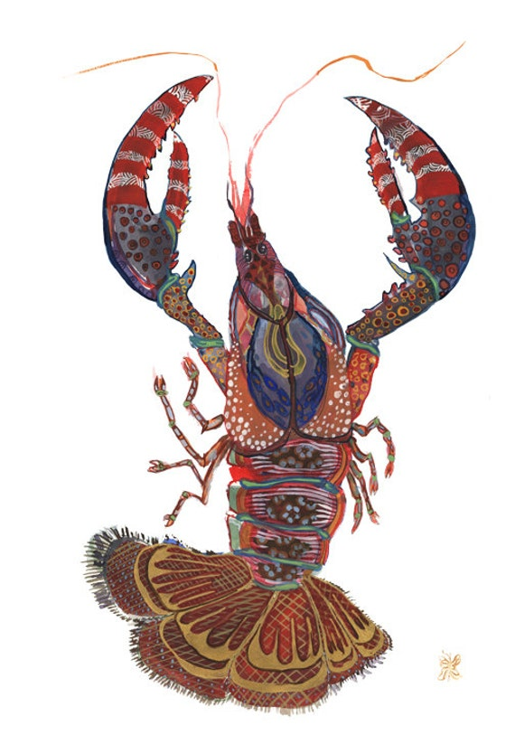 Crawfish Lobster Mardi Gras Art Print New Orleans