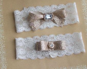 New Garter,Gold Garter,Gold Garter Set,Plus Size Garter,Rhinestone Garter Set,Lace Garter,Bridal Garter,
