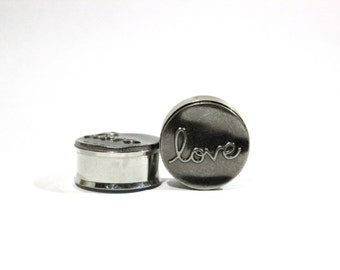 """Silver Love Plugs 1"""" 25mm LIMITED"""