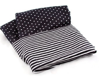 Nursing Infinity Scarf, Infinity Scarf, Nursing Cover, Breast Feeding Cover, Double Sided, Black and White Striped Polka Dot Knit Scarf
