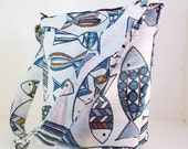 "BUCKET BAG. ""Fish"" Fabric. Blue, black, white background. Long strap. Crossbody bag. Hobo. Travel Bag. Washable Bag. Bags made in America."