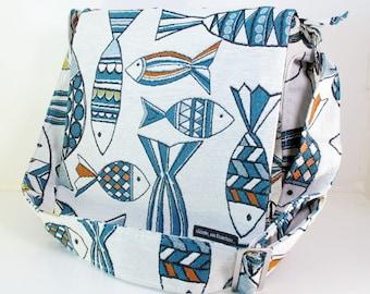 """MESSENGER BAG in """"Fish"""". Cross Body Bag. Travel Bag. Fabric Bag. Diaper Bag. Book bag. College bag. Vegan Bag  Bags Made in California"""