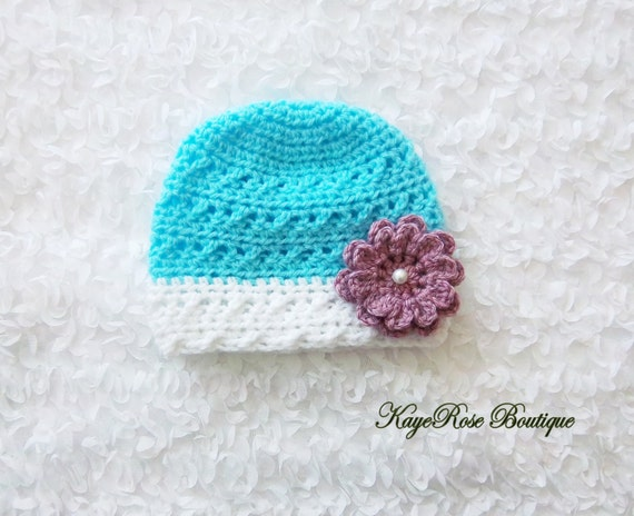 Crochet Hat Pattern For 8 Month Old : 3 to 6 Month Old Baby Girl Crochet Pearl Flower Hat by ...