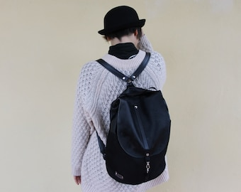 Backpack black on syntethic leather