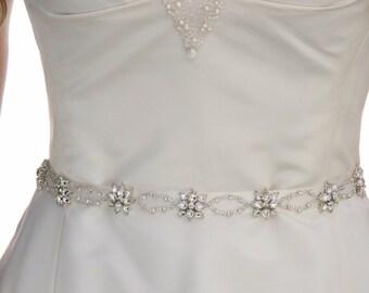 Narrow Rhinestone Wedding Dress Sash Belt or Headband on Ribbon with Rhinestone Flowers Wedding Dress Accessory, Rhinestone Bridal Gown Sash