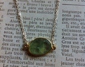 Green Prehnite Vermeil and Sterling Silver Necklace