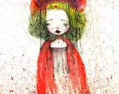 "ACEO ATC Artists Trading Card - 'Poppy' - Mini Fine Art Print 2.5x3.5"" Small Sized Artwork by Jessica von Braun"