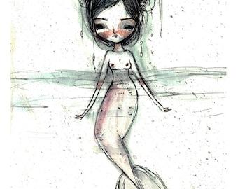 "5x7 fine art print - ""Mermaid"" - artwork by Jessica von Braun - Watercolor print"