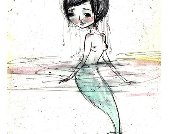"5x7 fine art print - ""Mermaid"" - artwork by Jessica von Braun - Watercolor print"