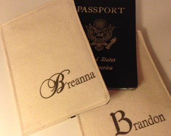 Passport Cover Set, couples passport cover pair, Your Color Choice, Great Couples Gift