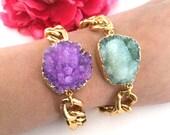 druzy stone bracelet - druzy jewelry - gold dipped drusy stone - agate stone charm - raw gemstone - chunky chain bracelet - bohemian jewelry