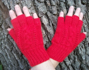 Alpaca fingerless gloves with a cable pattern.  Red gloves. Red alpaca gloves.  My Valentine.See pictures.
