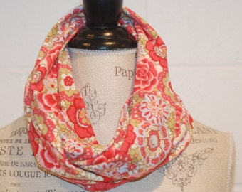 Coral Pink Tan European Floral Print Cowl Infinity Scarf - 100% Cotton Knit Jersey Fabric - Fall Winter Fashion Accessory