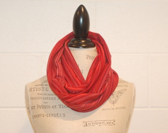 Red Pink Striped Cowl Infinity Scarf - 100% Cotton Knit European Jersey Fabric - Fall Winter Fashion Accessory