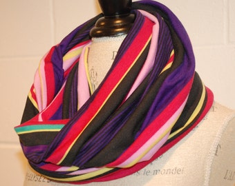 Striped Jersey Infinity Scarf - Purple Pink Multicolored Fabric -Modern Fashion Accessory - Ladies Teens Tweens