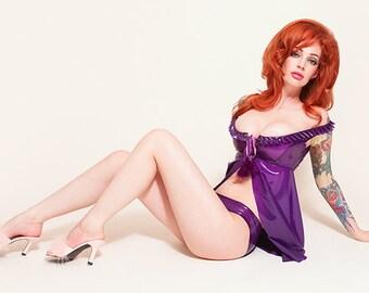 Semi Transparent Purple Babydoll & knickers set